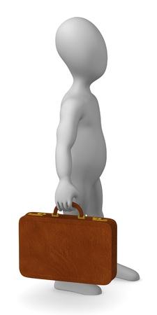 bussinesman: 3d render of cartoon character with suitacase