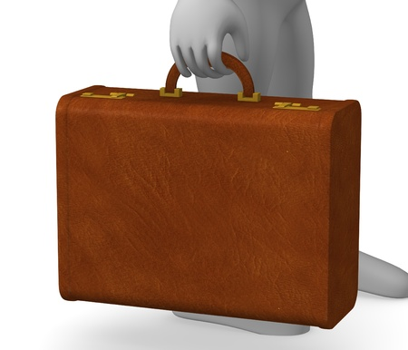 3d render of cartoon character with suitacase photo