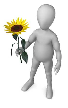 3d render of cartoon character with sunflower photo