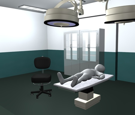 3d render of cartoon character with surgery room
