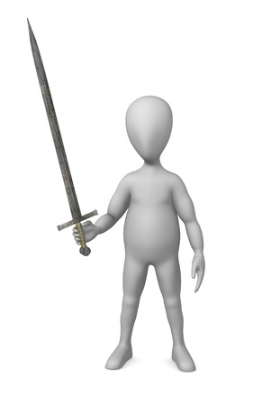 3d render of cartoon character with sword photo