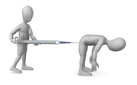 3d render of cartoon character with syringe photo