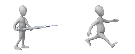 hypodermic: 3d render of cartoon character with syringe Stock Photo