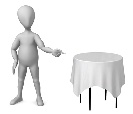 vizualisation: 3d render of cartoon character with table