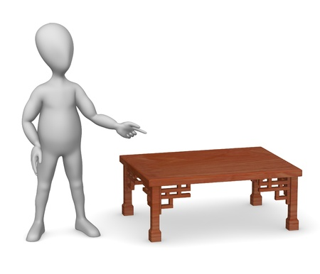 3d render of cartoon character with table Stock Photo - 12968211