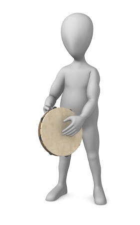 3d render of cartoon character with tambourine Stock Photo - 12969806