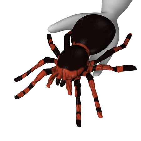 3d render of cartoon character with redknee tarantula  photo