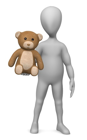 3d render of cartoon character with teddy Stock Photo - 12967952