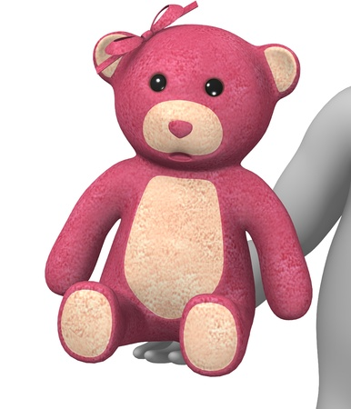 stockie: 3d render of cartoon character with teddy Stock Photo
