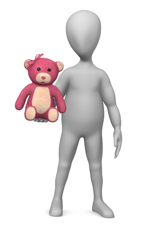 3d render of cartoon character with teddy photo