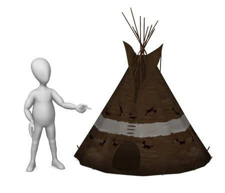 stockie: 3d render of cartoon character with teepee Stock Photo
