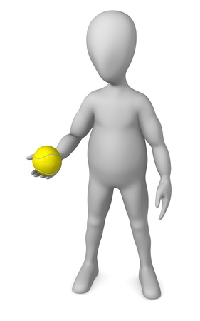 stockie: 3d render of cartoon character with tenis ball  Stock Photo