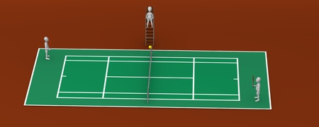 3d render of cartoon character playing tenis  photo