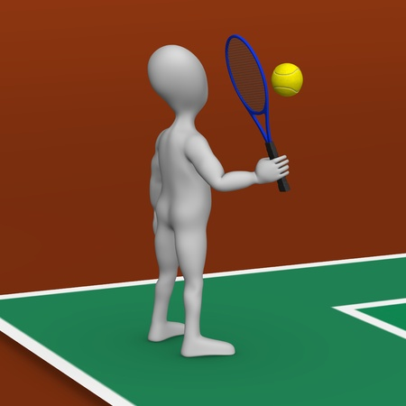 tenis: 3d render of cartoon character playing tenis