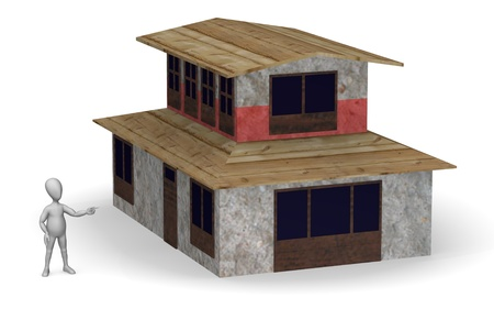 3d temple: 3d render of cartoon character with tibet house