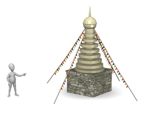 stockie: 3d render of cartoon character with tibet house