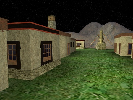 3d render of cartoon character in tibet village photo