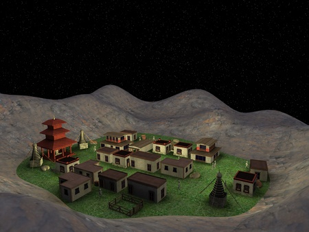チベットの村での漫画のキャラクターの 3 d レンダリング