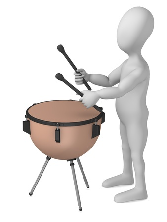 strains: 3d render of cartoon character with timpani Stock Photo