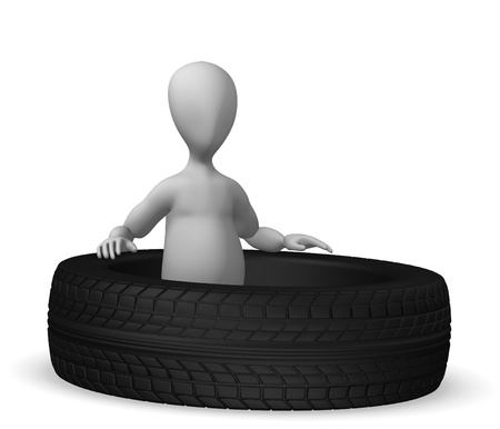 pneu: 3d render of cartoon character with tire