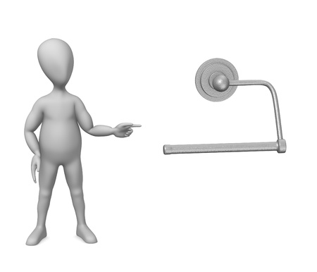 3d render of cartoon character with toilet holder photo