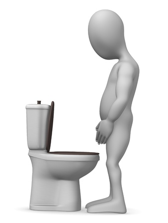 urinate: 3d render of cartoon character on toilet