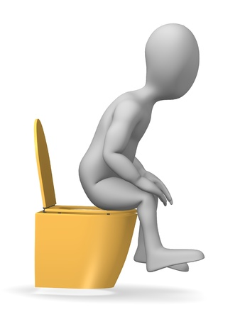 3d render of cartoon character on toilet Stock Photo - 12969076