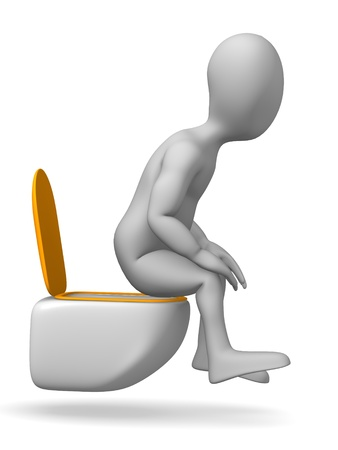 3d render of cartoon character on toilet Stock Photo - 12968993