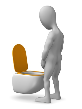 pee: 3d render of cartoon character on toilet