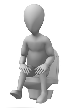 3d render of cartoon character on toilet photo