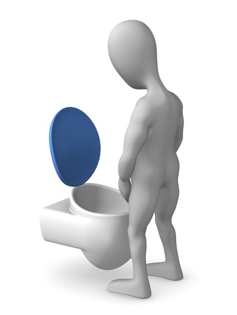 3d render of cartoon character on toilet Stock Photo - 12969220