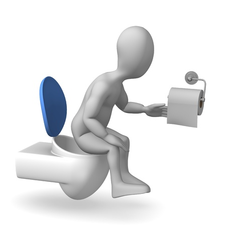3d render of cartoon character on toilet