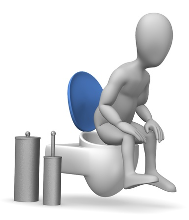 3d render of cartoon character on toilet Stock Photo - 12967855