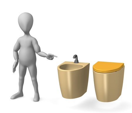 3d render of cartoon character on toilet Stock Photo - 12969704