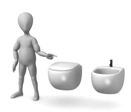3d render of cartoon character on toilet Stock Photo - 12969762