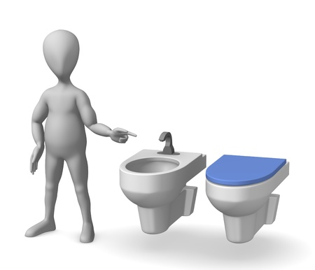 3d render of cartoon character on toilet Stock Photo - 12969537