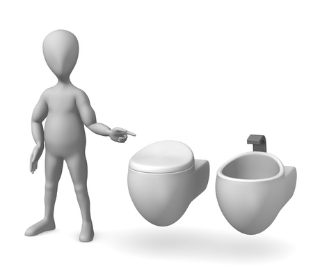 urinal: 3d render of cartoon character on toilet