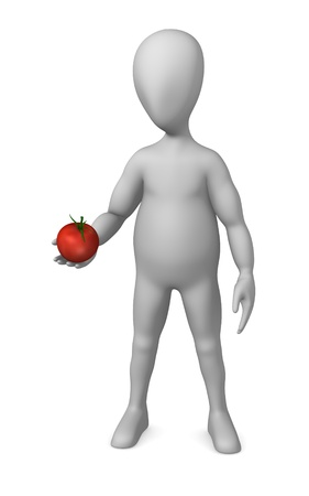 stockie: 3d render of cartoon character with tomato