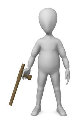 stockie: 3d render of cartoon character with tonfa