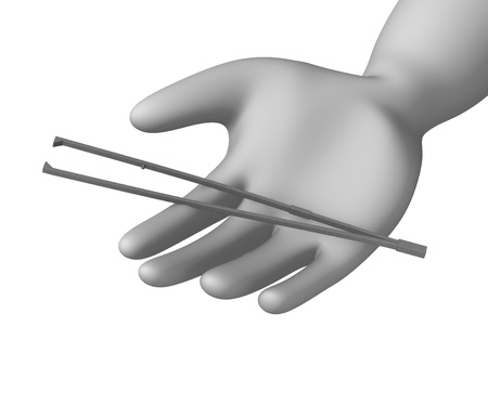 3d render of cartoon character with forceps photo