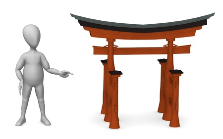 miyajima: 3d render of cartoon character with torii gate