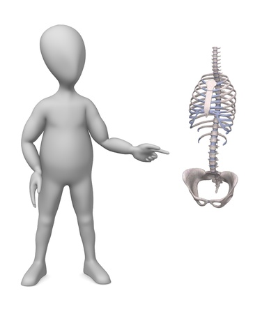 3d render of cartoon character with torso  photo