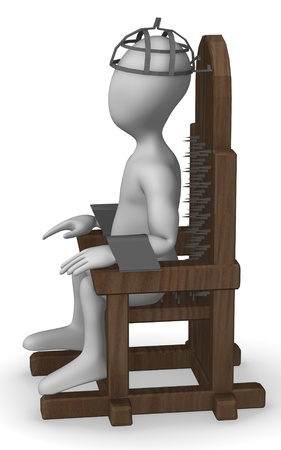 wooden figure: 3d render of cartoon character with tortural chair