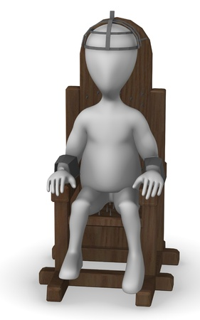 torment: 3d render of cartoon character with tortural chair