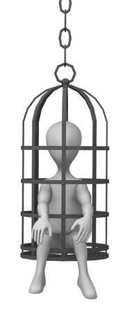 martyr: 3d render of cartoon character with tortural wire Stock Photo