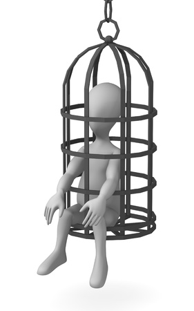 torment: 3d render of cartoon character with tortural wire Stock Photo