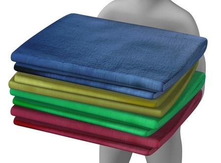 3d render of cartoon character with towels photo