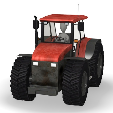 3d render of cartoon character with tractor machine Stock Photo - 12967478