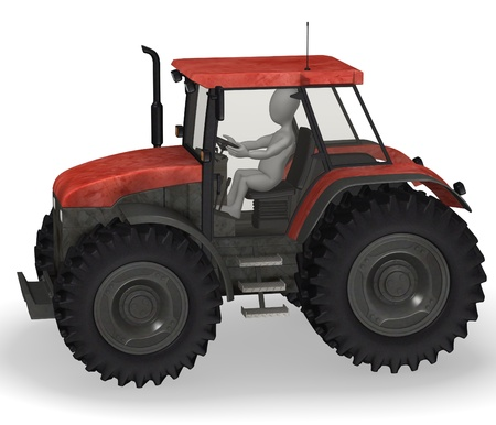 3d render of cartoon character with tractor machine  photo