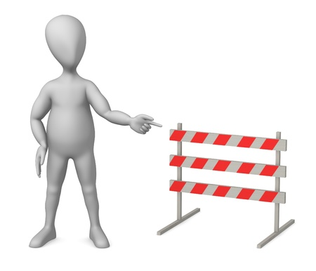 3d render of cartoon character with traffic barrier photo